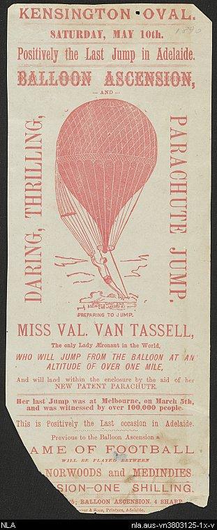 Val Van Tassell in Adelaide 1890