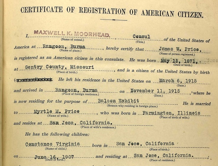 J.W. Price Registration of an American citizen 1915