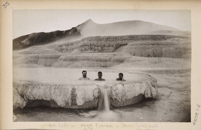 Men bathing in a thermal pool at the White Terraces, Rotomahana.